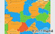 Political Simple Map of Castilla y León, political shades outside
