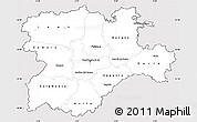 Silver Style Simple Map of Castilla y León, cropped outside