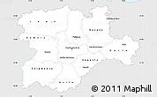 Silver Style Simple Map of Castilla y León, single color outside