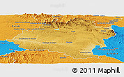 Physical Panoramic Map of Soria, political outside