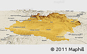 Physical Panoramic Map of Soria, shaded relief outside