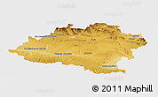 Physical Panoramic Map of Soria, single color outside