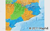 Political 3D Map of Cataluna