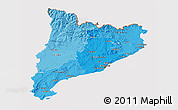 Political Shades 3D Map of Cataluna, cropped outside