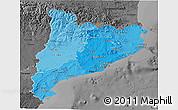 Political Shades 3D Map of Cataluna, darken, desaturated