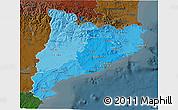 Political Shades 3D Map of Cataluna, darken