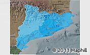 Political Shades 3D Map of Cataluna, darken, semi-desaturated