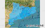 Political Shades 3D Map of Cataluna, satellite outside