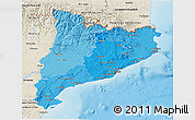 Political Shades 3D Map of Cataluna, shaded relief outside