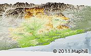 Physical Panoramic Map of Barcelona, semi-desaturated