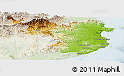 Physical Panoramic Map of Gerona, lighten