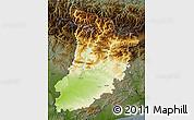 Physical Map of Lérida, darken