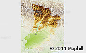 Physical Map of Lérida, lighten