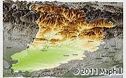 Physical Panoramic Map of Lérida, darken, semi-desaturated