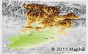 Physical Panoramic Map of Lérida, lighten, desaturated