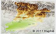 Physical Panoramic Map of Lérida, lighten, semi-desaturated