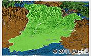 Political Panoramic Map of Lérida, darken