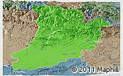 Political Panoramic Map of Lérida, semi-desaturated