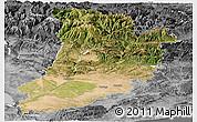 Satellite Panoramic Map of Lérida, desaturated