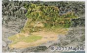 Satellite Panoramic Map of Lérida, semi-desaturated