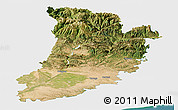 Satellite Panoramic Map of Lérida, single color outside