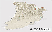 Shaded Relief Panoramic Map of Lérida, cropped outside