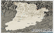 Shaded Relief Panoramic Map of Lérida, darken