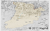 Shaded Relief Panoramic Map of Lérida, desaturated