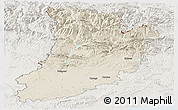 Shaded Relief Panoramic Map of Lérida, lighten