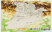 Shaded Relief Panoramic Map of Lérida, physical outside