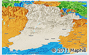 Shaded Relief Panoramic Map of Lérida, political outside