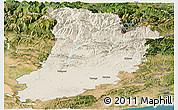 Shaded Relief Panoramic Map of Lérida, satellite outside