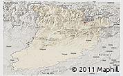 Shaded Relief Panoramic Map of Lérida, semi-desaturated