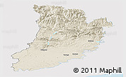 Shaded Relief Panoramic Map of Lérida, single color outside