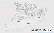 Silver Style Panoramic Map of Lérida, single color outside