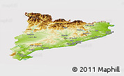Physical Panoramic Map of Cataluna, cropped outside