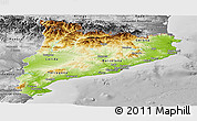 Physical Panoramic Map of Cataluna, desaturated