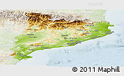 Physical Panoramic Map of Cataluna, lighten