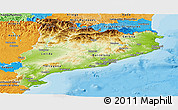 Physical Panoramic Map of Cataluna, political outside