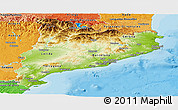 Physical Panoramic Map of Cataluna, political shades outside