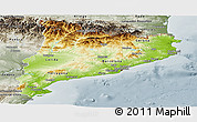 Physical Panoramic Map of Cataluna, semi-desaturated