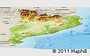 Physical Panoramic Map of Cataluna, shaded relief outside