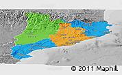 Political Panoramic Map of Cataluna, desaturated