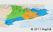 Political Panoramic Map of Cataluna, lighten