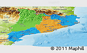 Political Panoramic Map of Cataluna, physical outside