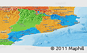 Political Panoramic Map of Cataluna, political shades outside