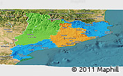 Political Panoramic Map of Cataluna, satellite outside