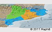 Political Panoramic Map of Cataluna, semi-desaturated