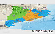 Political Panoramic Map of Cataluna, shaded relief outside