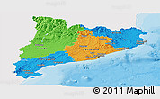 Political Panoramic Map of Cataluna, single color outside